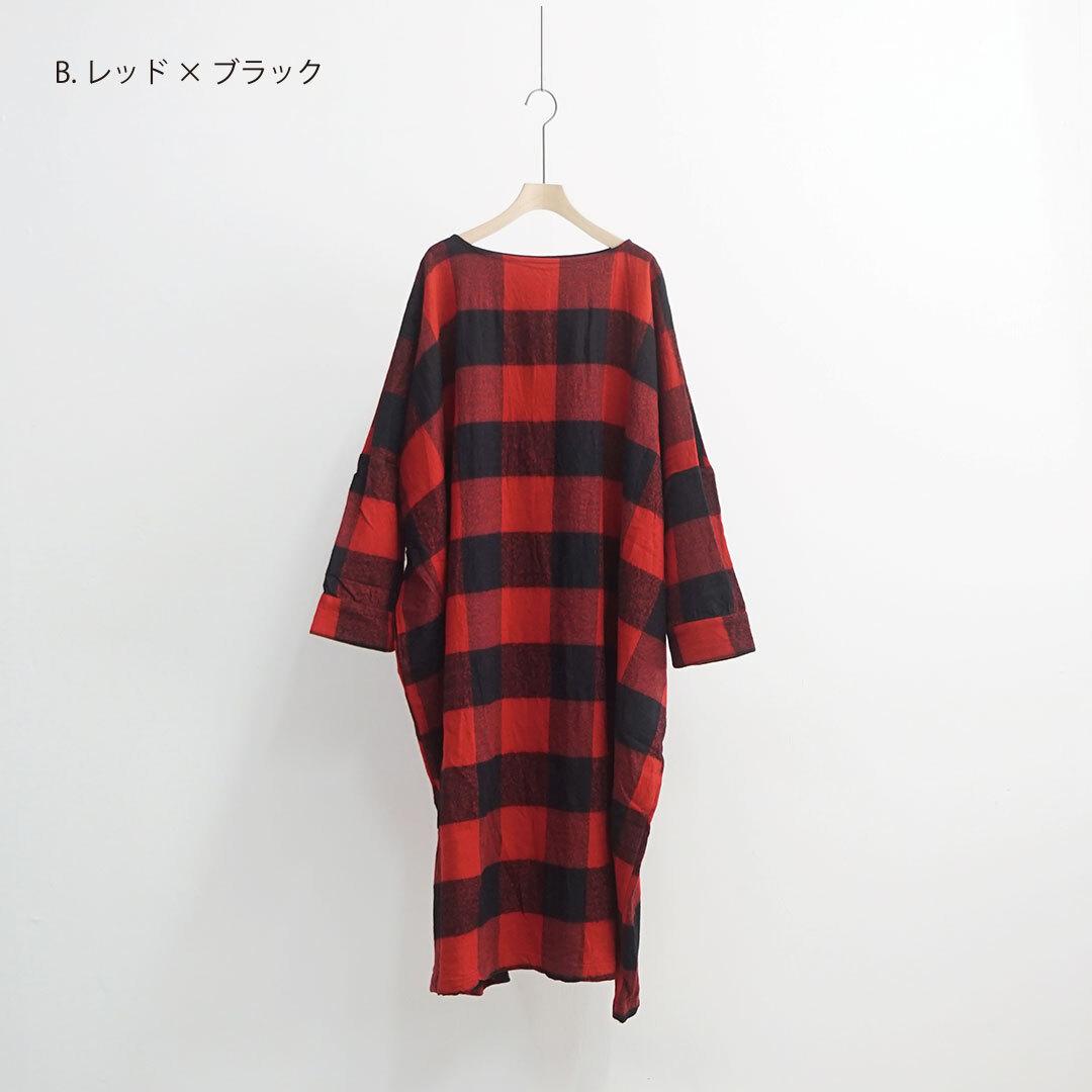 ichi イチ ブロックチェック起毛ワンピース (品番200620)