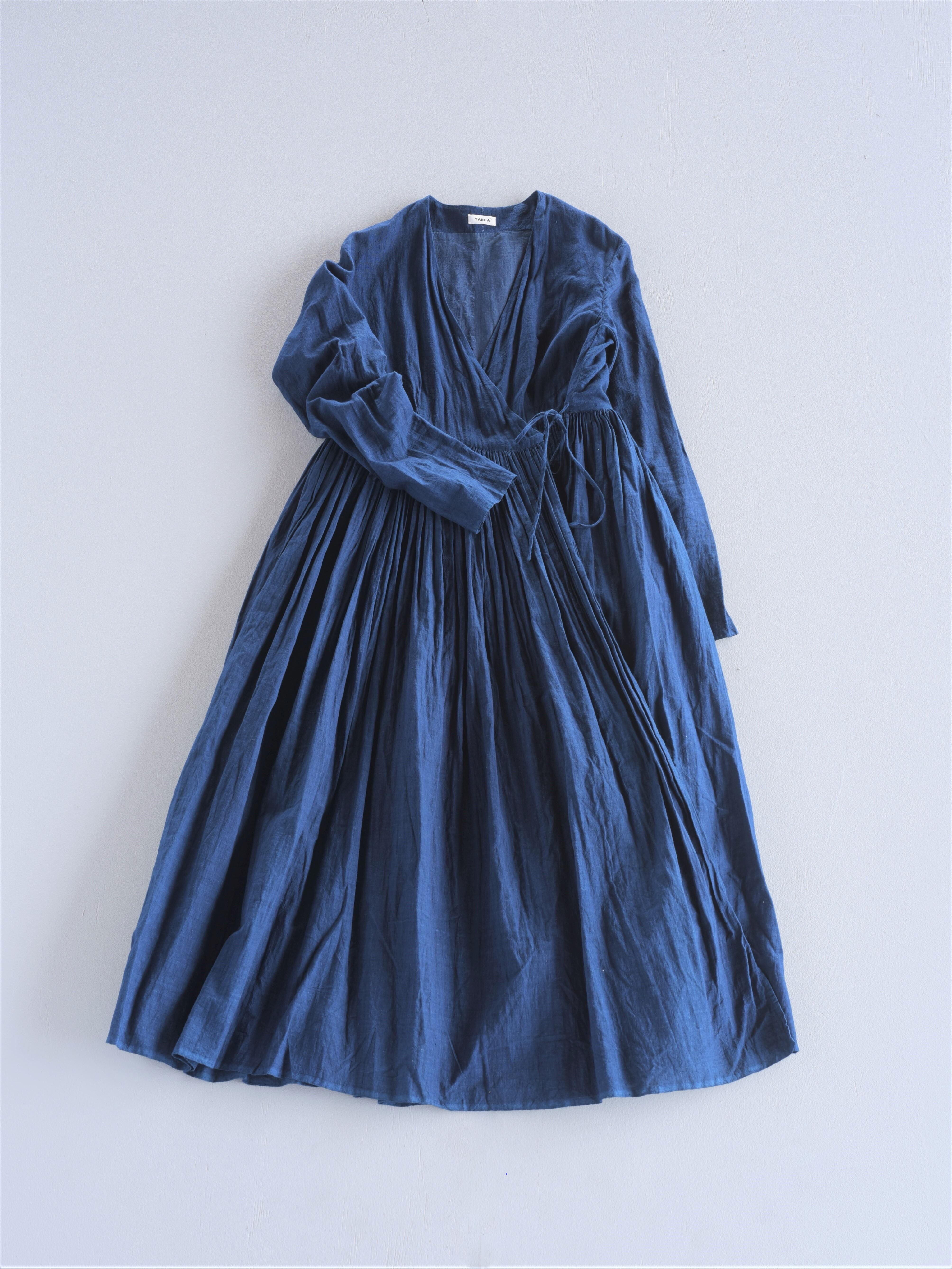 YAECA khadi ラップギャザードレス indigo本藍