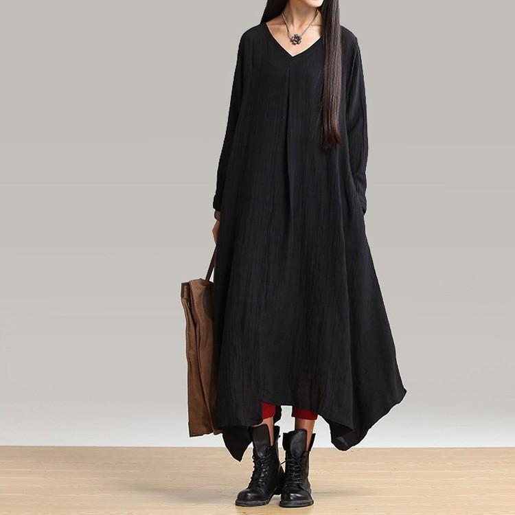 【ワンピース】無地ラウンドネック裾幅不規則カジュアルワンピース14907918