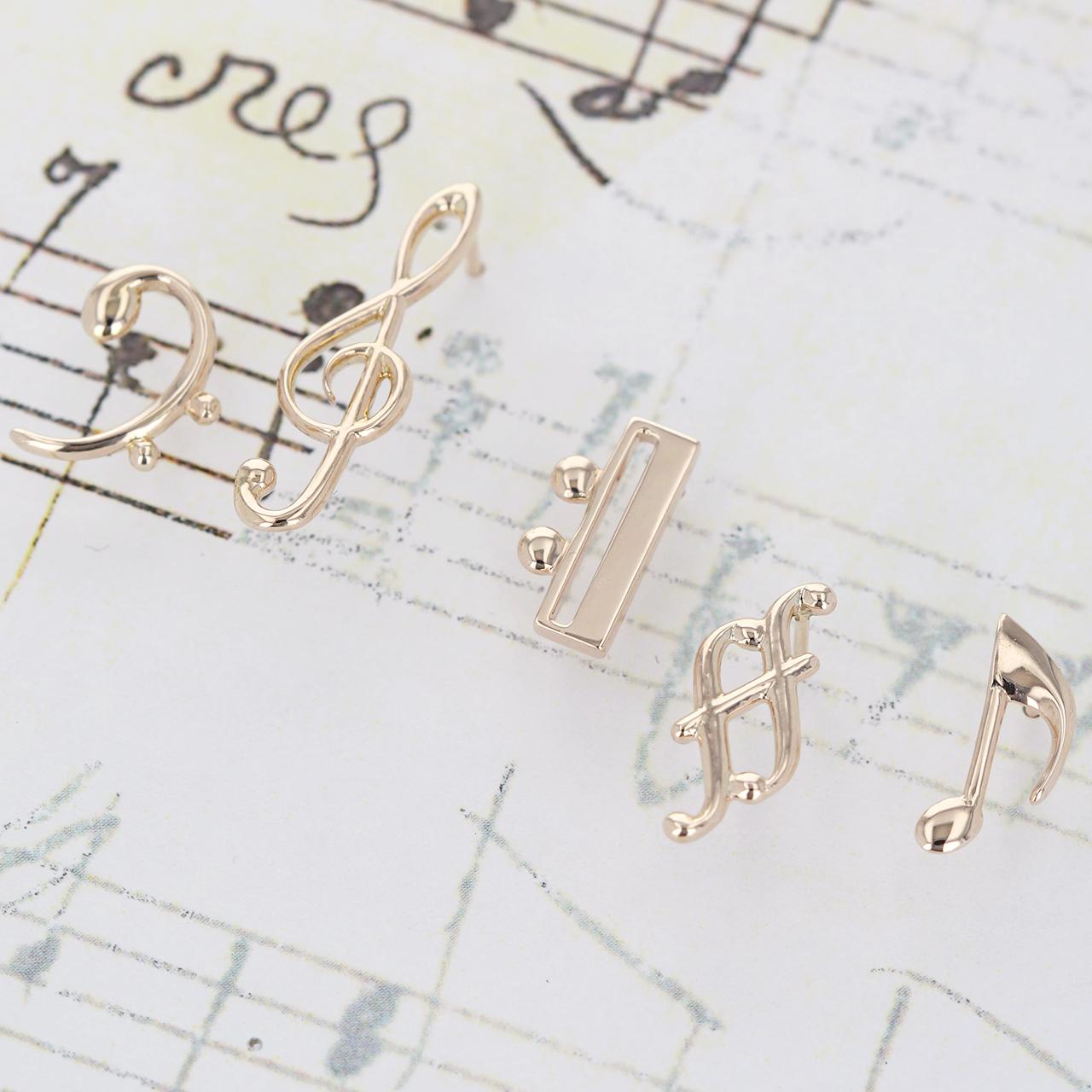 K10 / ピアス (片耳) / 音符のデザイン 少し大きくピアスシリーズ(5本セット)