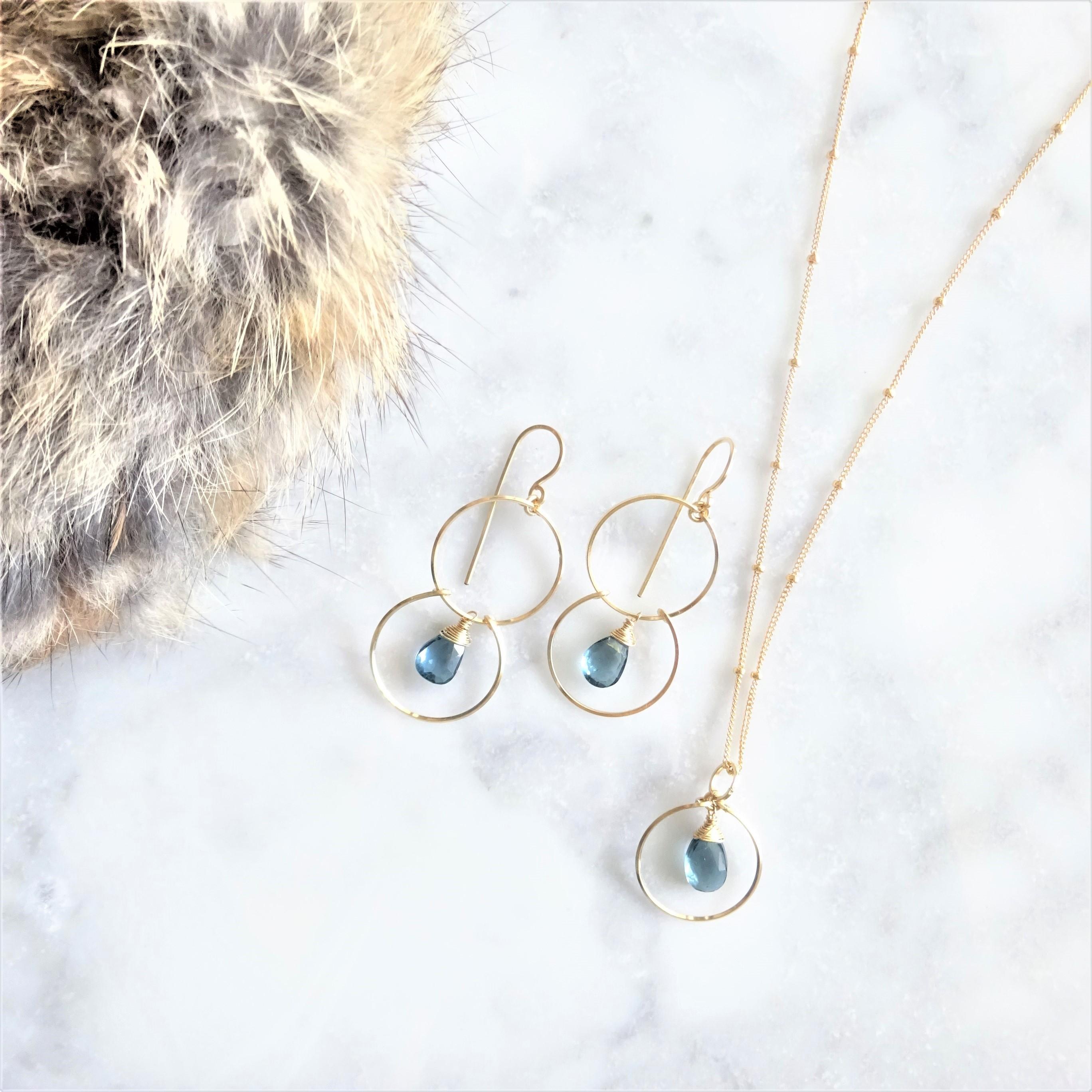 送料無料14kgf*宝石質London Blue Topaz ring necklace