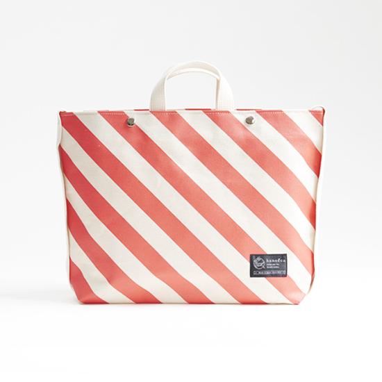 shoulder tote bag/vermilion × stripe ショルダートート/ 朱 x 縞