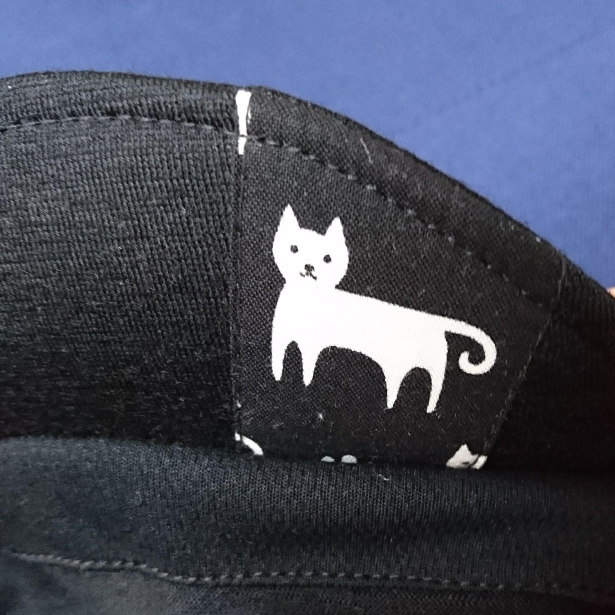 耳付きウールサイクルキャップ 黒 ネコ