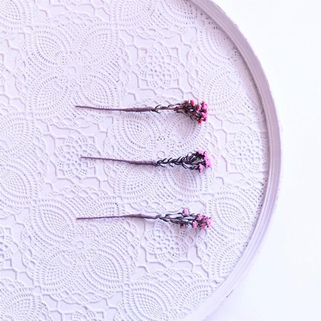 〖 フィリカ・フレンチピンク のヘッドドレスパーツ3本 〗お好きなプリザ花材をカスタムメイドでお作り致します