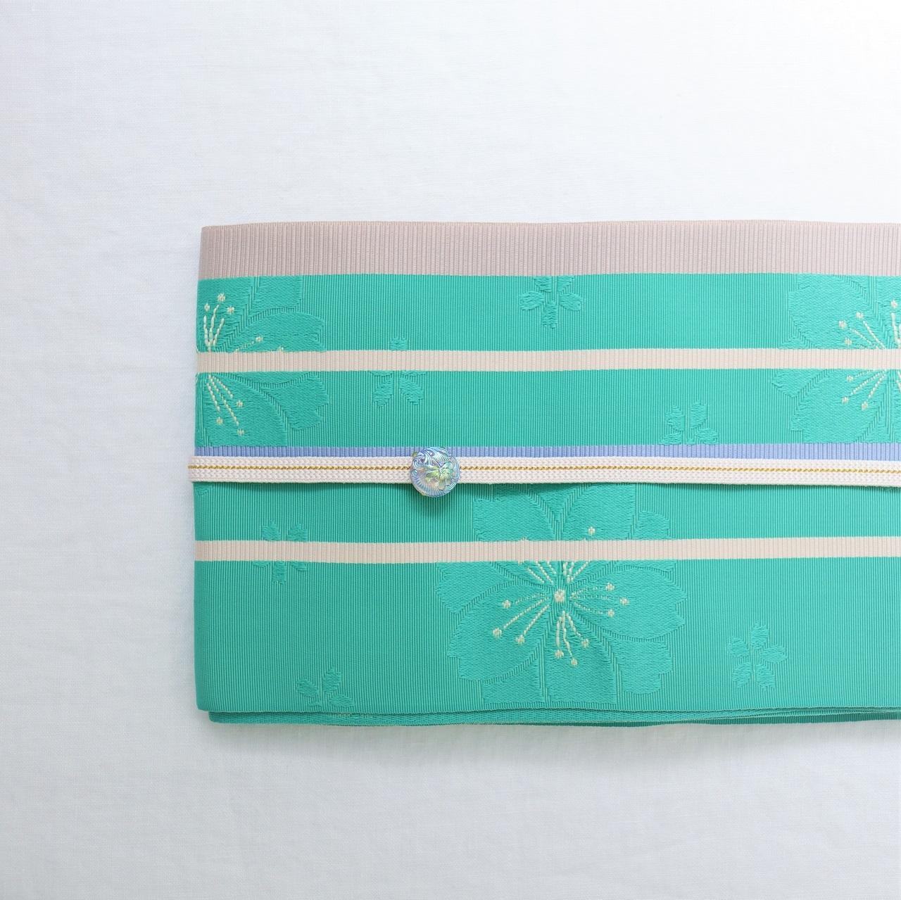 【ゆかた用 半巾帯】 翡翠色 桜とライン