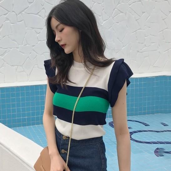 【tops】カジュアルストライプ柄半袖Tシャツ12922345