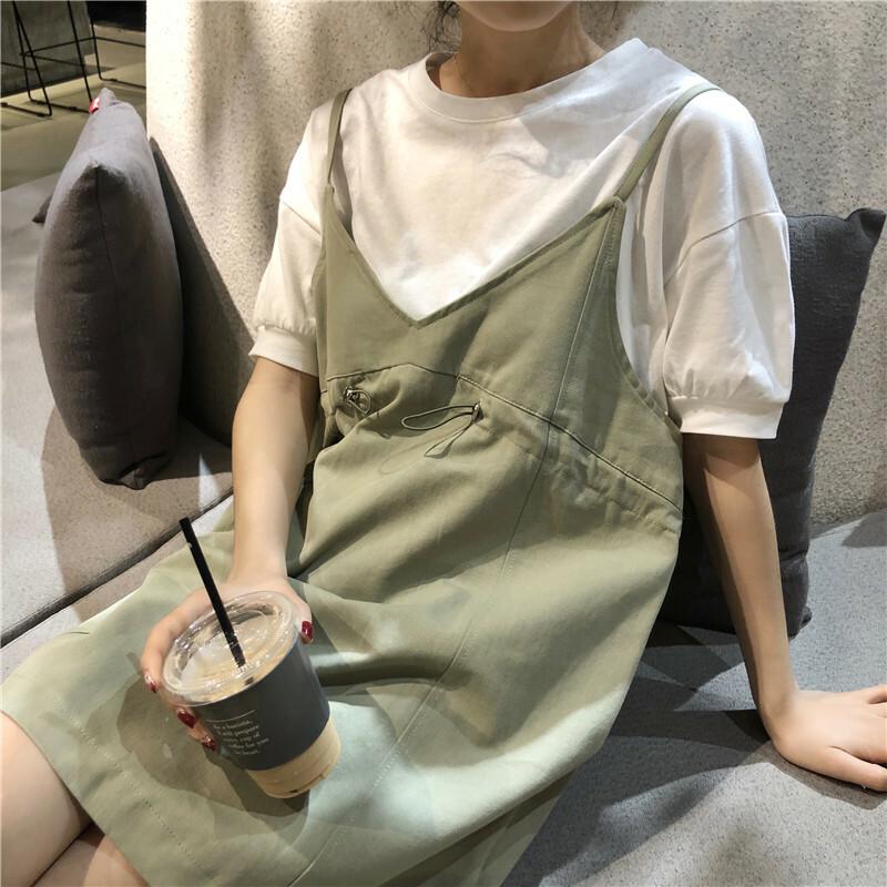 【送料無料】 カジュアルセットアップ♡ シンプル Tシャツ & キャミソールワンピース ミニワンピ