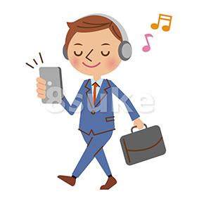 イラスト素材:歩きながらスマホで音楽を聴くビジネスマン(ベクター・JPG)