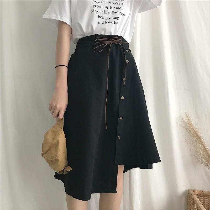 【bottoms】無地カジュアルハイウエストAラインスカート13679113