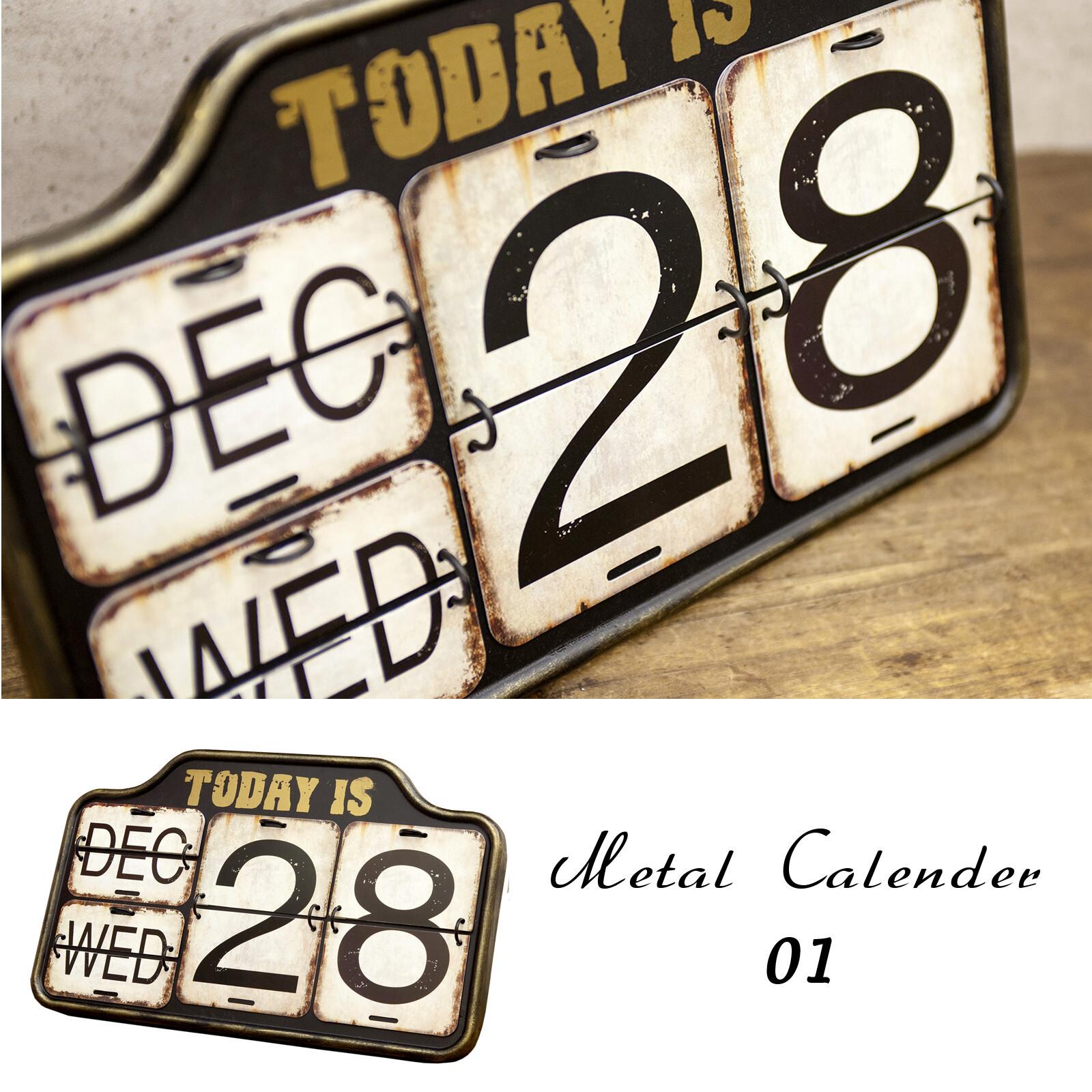 壁掛け・卓上「メタルカレンダー」パタパタカレンダー ブリキ