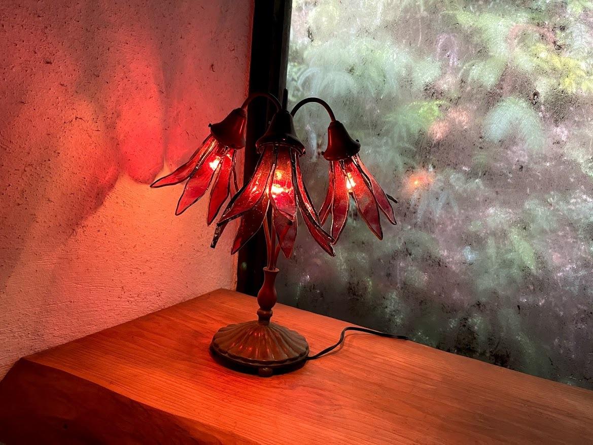 ピンクリリィ(ステンドグラスのテーブルランプ)  01020210
