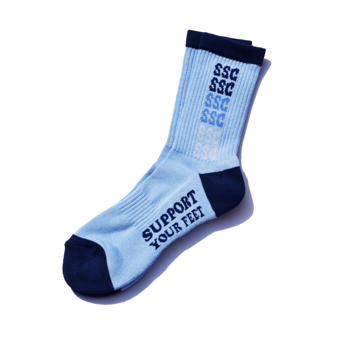 SURF SKATE CAMP #SSC Rainbow Socks Light Blue/Navy