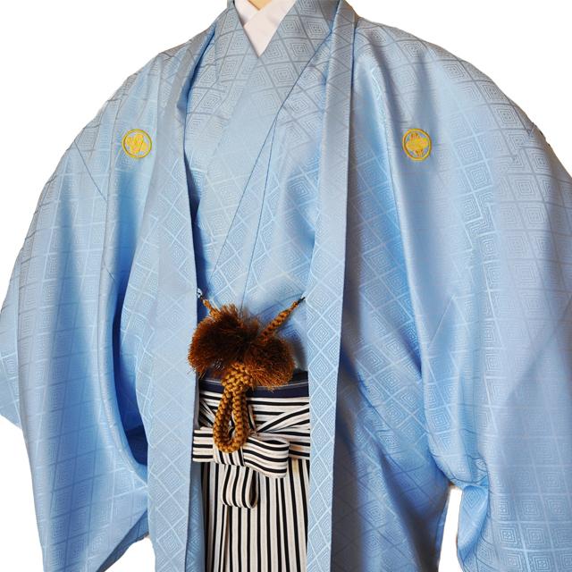 レンタル男性用【紋付袴】水色着物羽織と黒銀ぼかしの袴フルセットblue1[往復送料無料] - 画像1