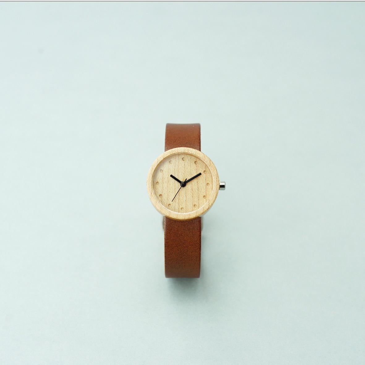 Maple wood - Organic leather Dark Brown - S
