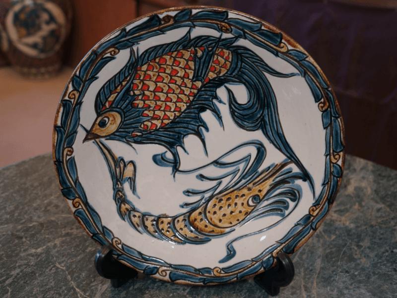 繁栄と長寿の象徴 魚紋&海老紋の尺皿(約30cm)金城陶器秀陶房 やちむん