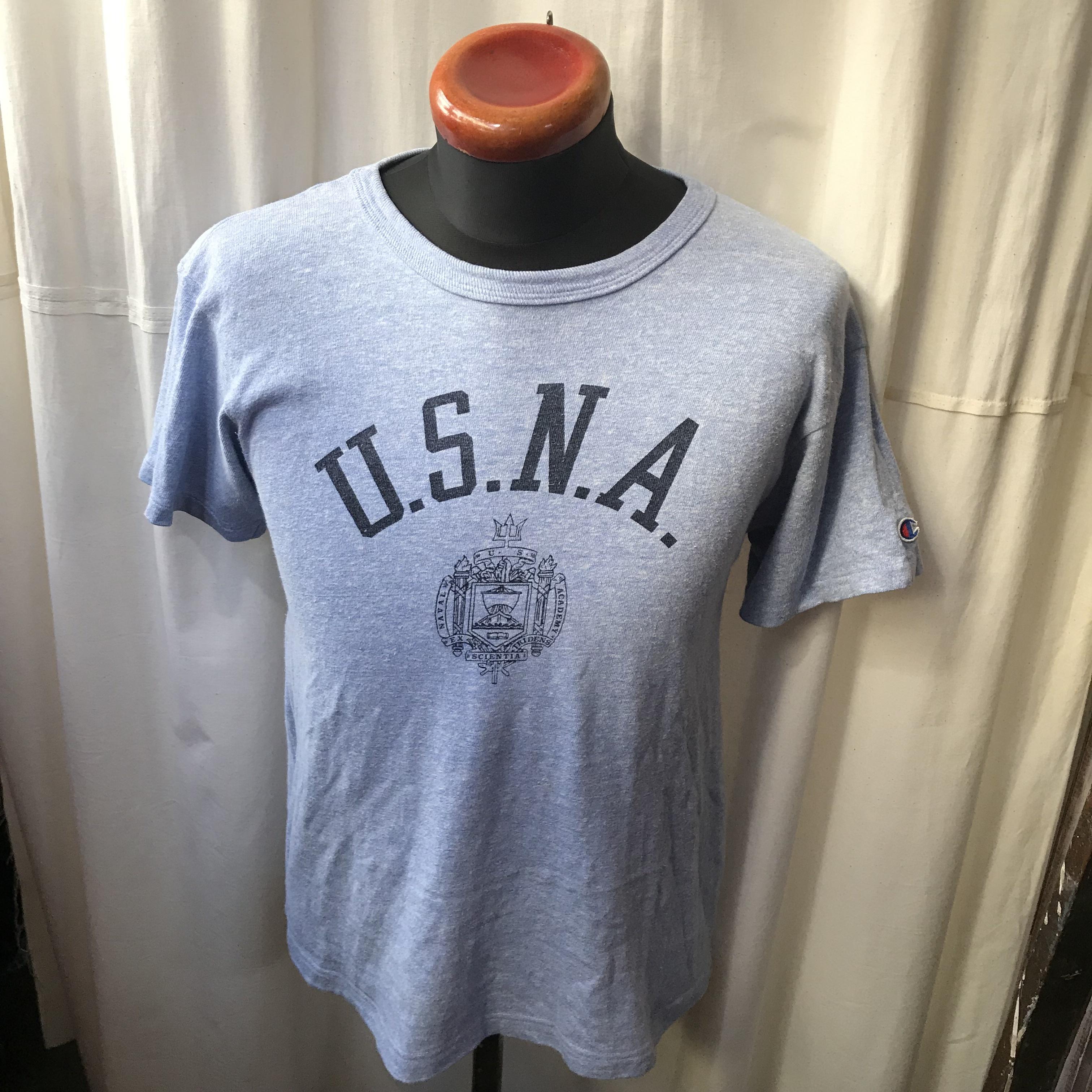 80's old champion U.S.N.A チャンピオン アメリカ海軍兵学校 8812 染み込みプリント杢半袖Tシャツ メンズM