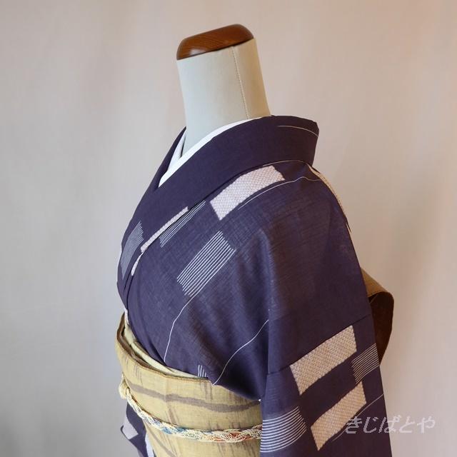 正絹 紫に絣の小紋 単衣