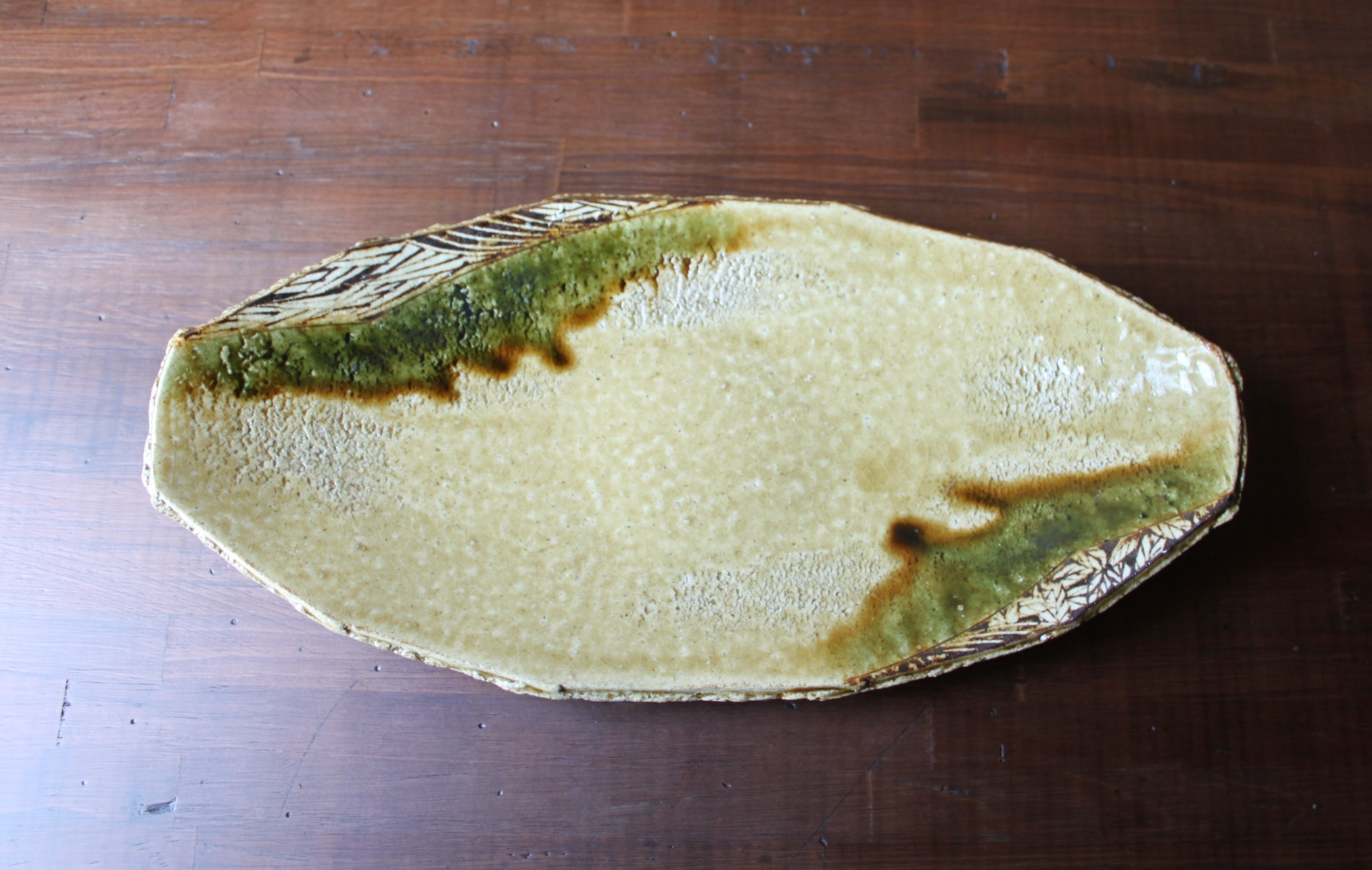 黄瀬戸舟型鉢