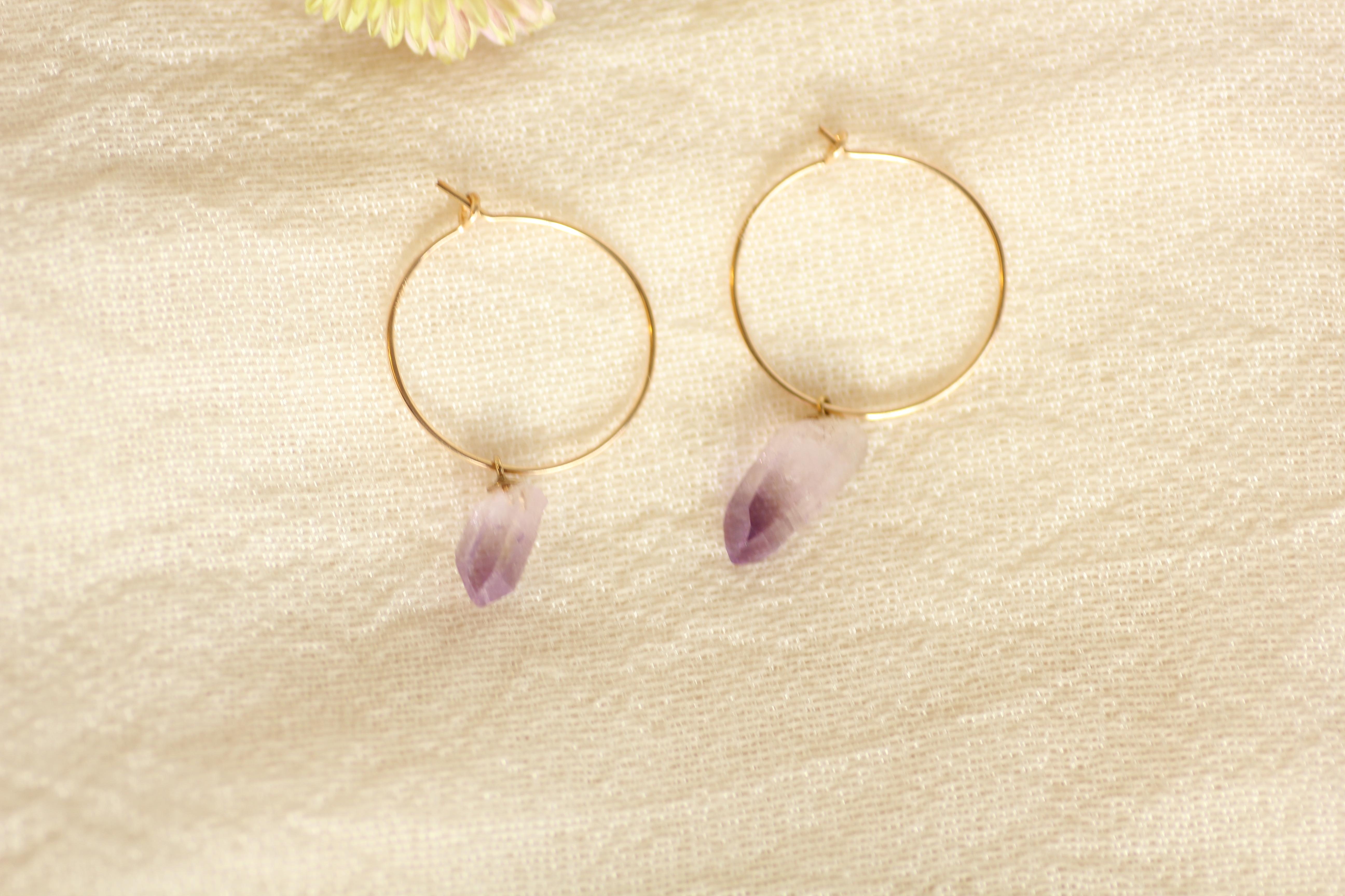 アメシスト(紫水晶)結晶ピアス