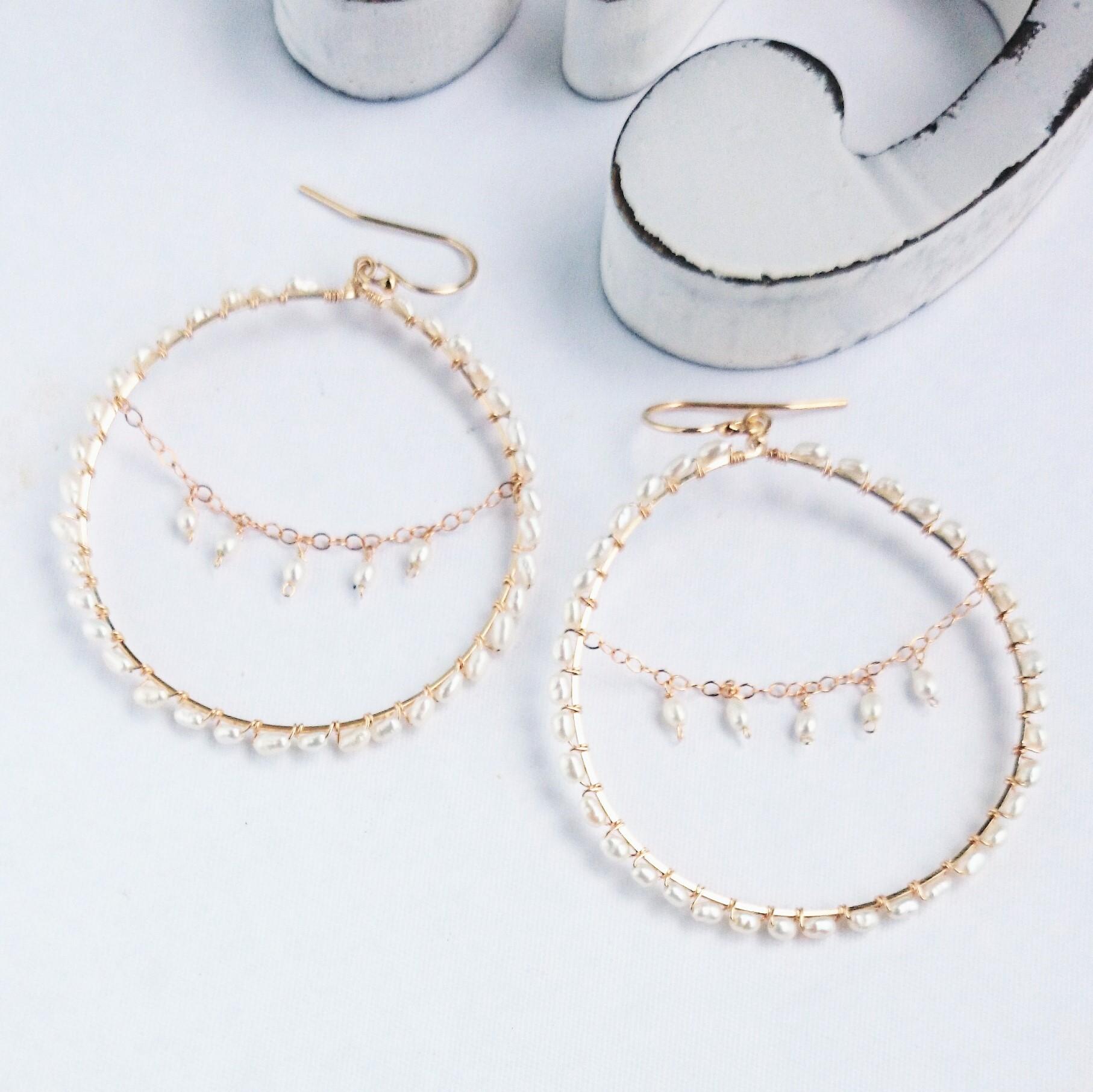 送料無料14kgf fresh water pearl *chandelier wrapped pierce/earring