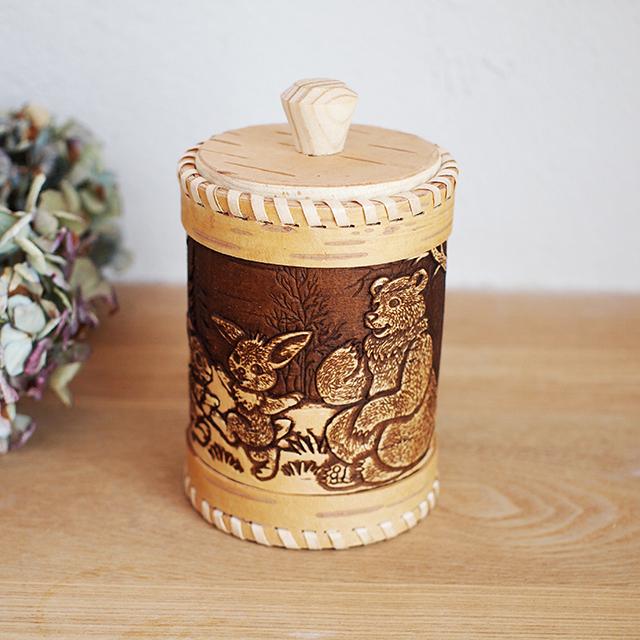 【ロシア】 白樺工芸 ベレスタ 筒型キャニスター (森の動物たち)