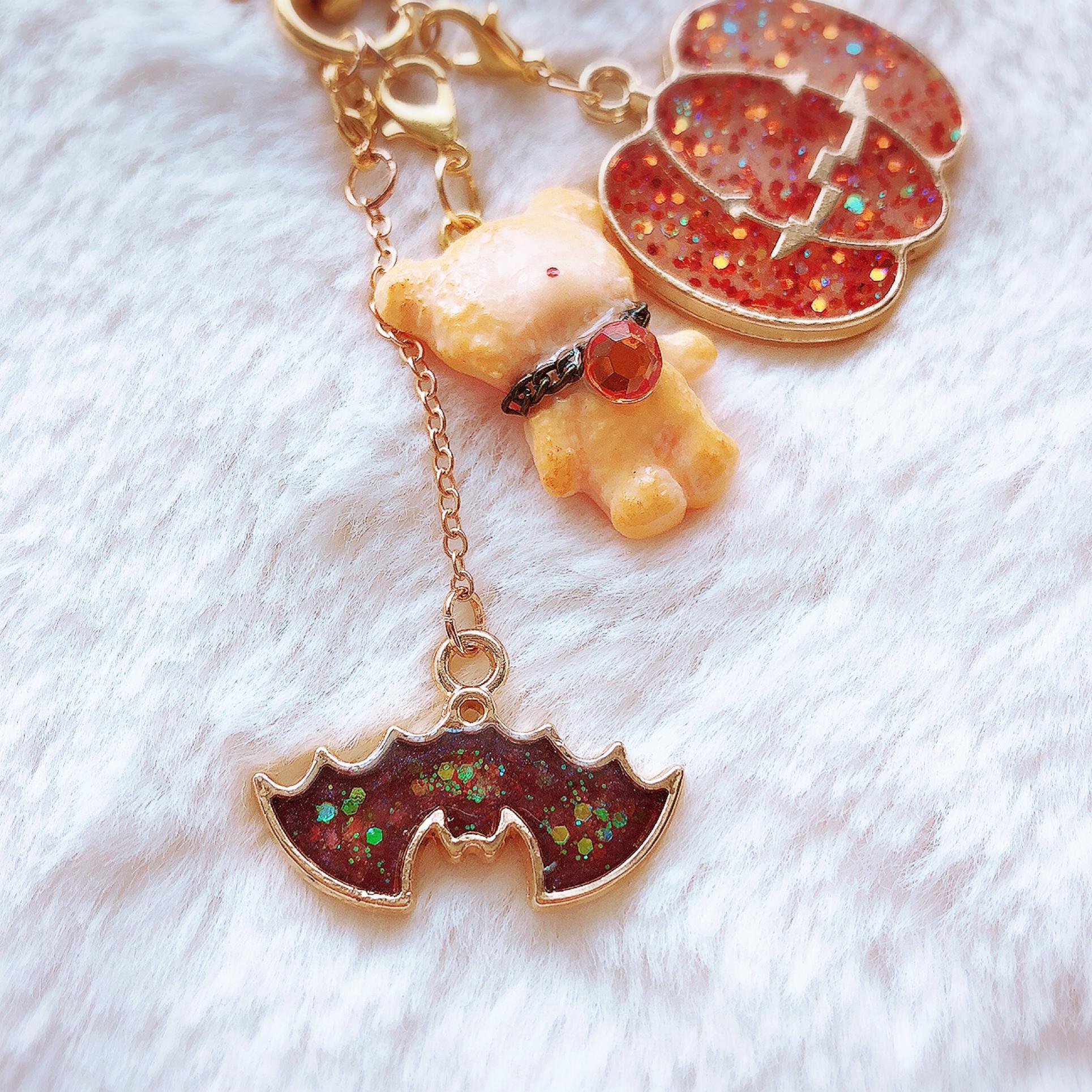 【ピアコレ・キューティーナイトメア】【Puryun】くまさんクッキーハロウィンチャーム(オレンジネックレスversion)