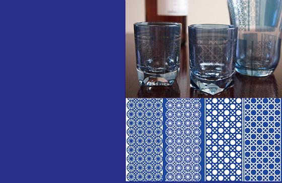 【ガラス用】 KIRIKO 切子 ブルー A3サイズ(ポーセリンアート用転写紙)