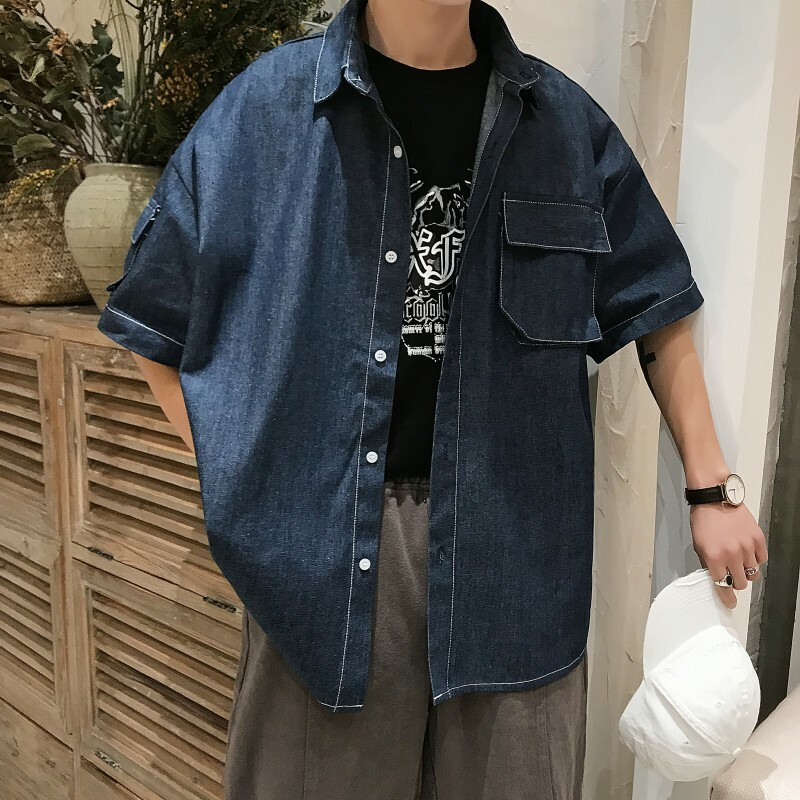 ビッグシルエットデニム風ジャケット 【全二色】