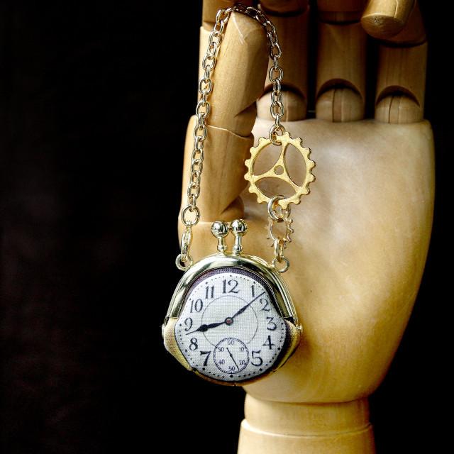 【即納】時計がま口ミニ 大きな歯車のバッグチャーム  アラビア数字金時計 - 金星灯百貨店