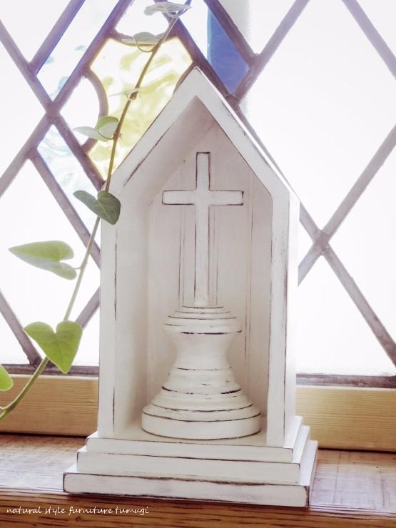 教会と十字架・クロスのオブジェ(ホワイトカラー)