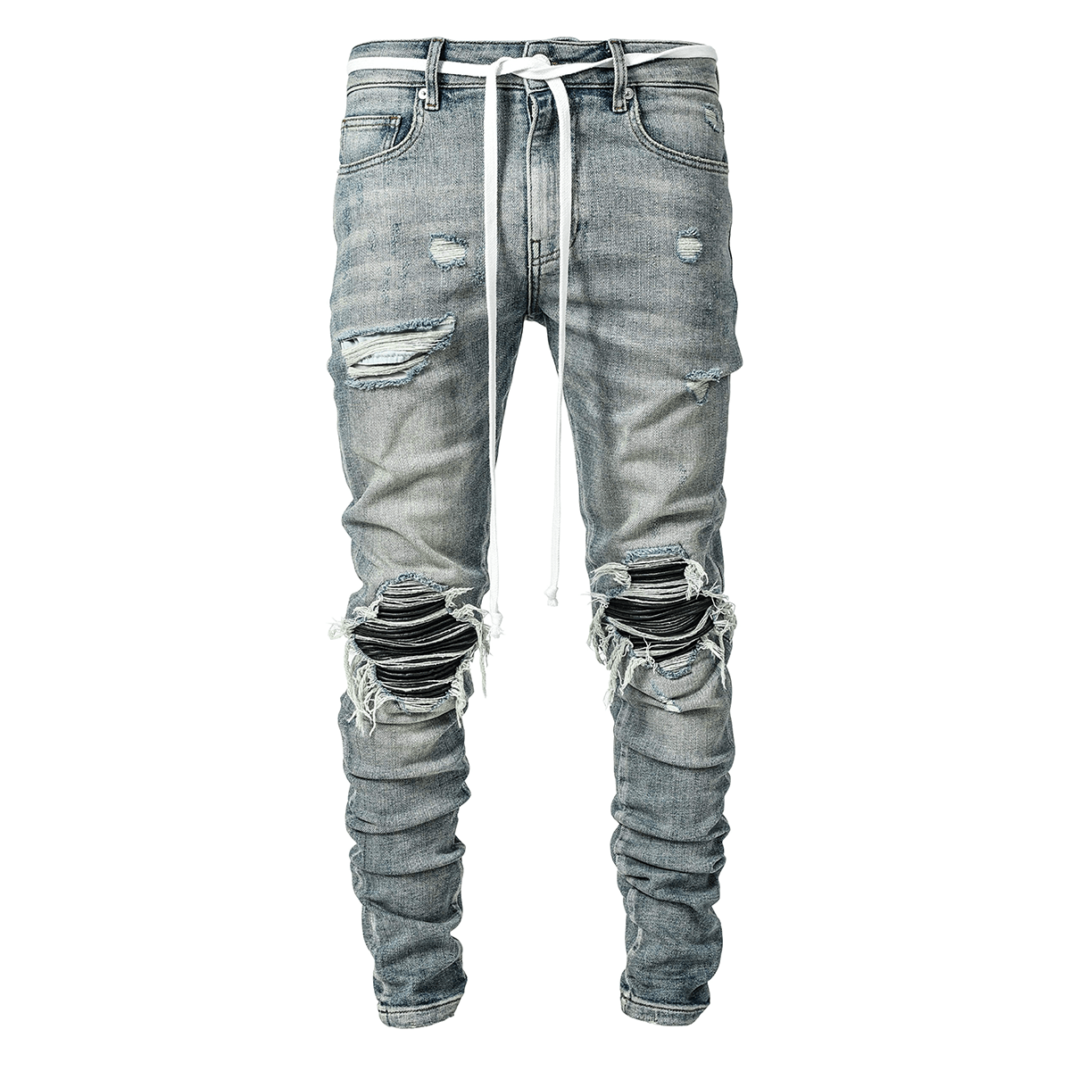 LAKENZIE BIKER PATCH DENIM - LIGHT STONE