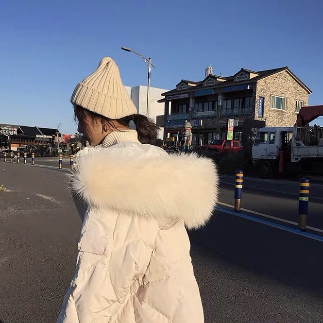 white fur long down jacket