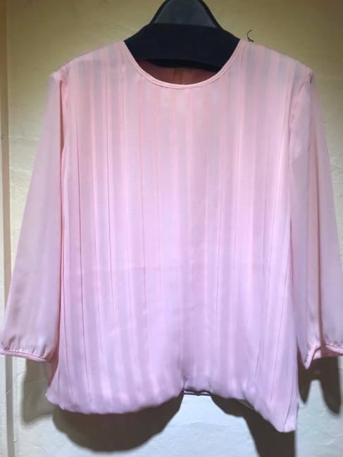 ゆったりサイズ    blendo ブレンドオ   七分袖ボックスプリーツとろみシフォンブラウス   ピンク