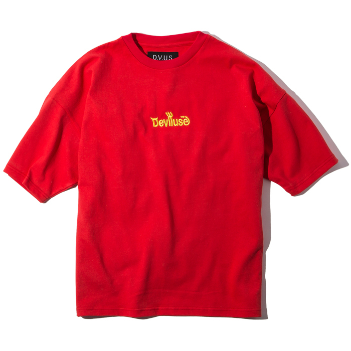 Deviluse(デビルユース) |  Logo embroidered Big T-shirts (Red)