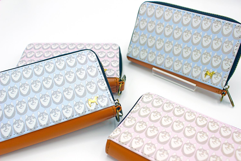 [受注] かわいい柴犬柄 パスケース付きミニ財布