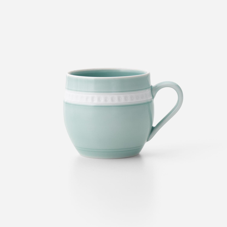 青磁印花 丸マグカップ