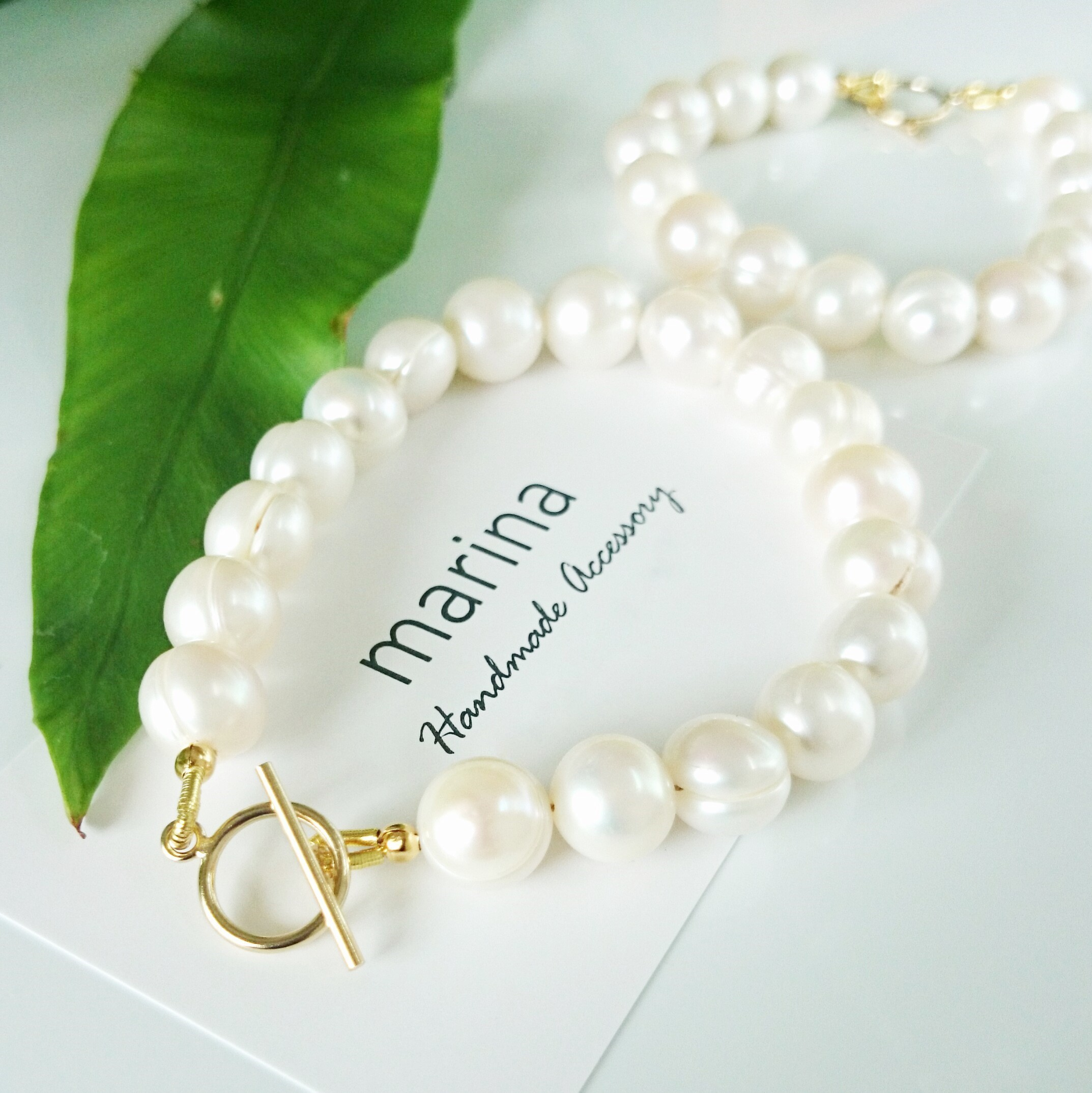 送料無料14kgf*peach shape baroque pearl bracelet tight type