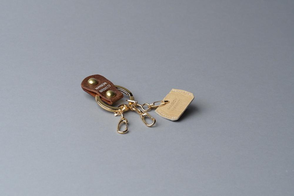 KEY RING・CAP ■ブラウンG・スエード調ゴールド■_本革真鍮キーリング・キーキャップセット_ - 画像1