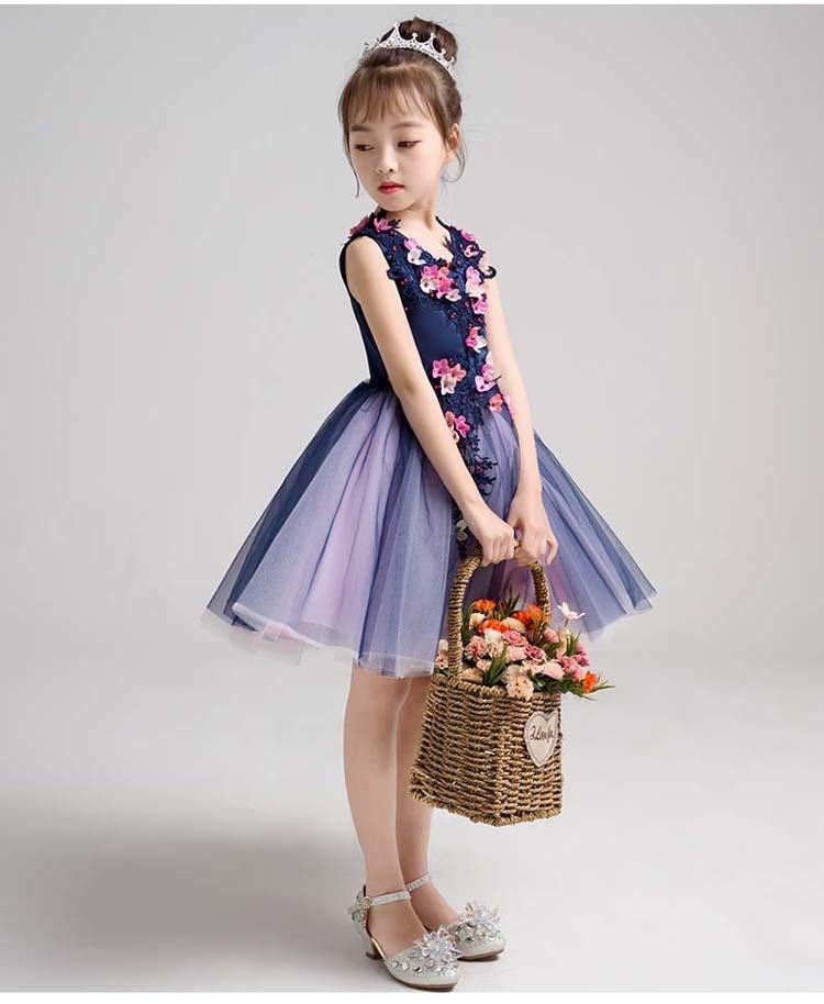 4d3130ccb2dea 子どもドレス キッズドレス ジュニアドレス フォーマル用 ピアノ発表会 結婚式 コンクール 女の子 七五三ドレスキッズワンピース 子供服 ブルー 青い  花柄