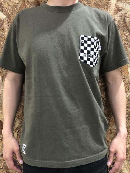 【東北別注】2018年夏新作 CHUMS (チャムス) 米織小紋ポケットTシャツ ArmyGreen (アーミーグリーン CH01-1443