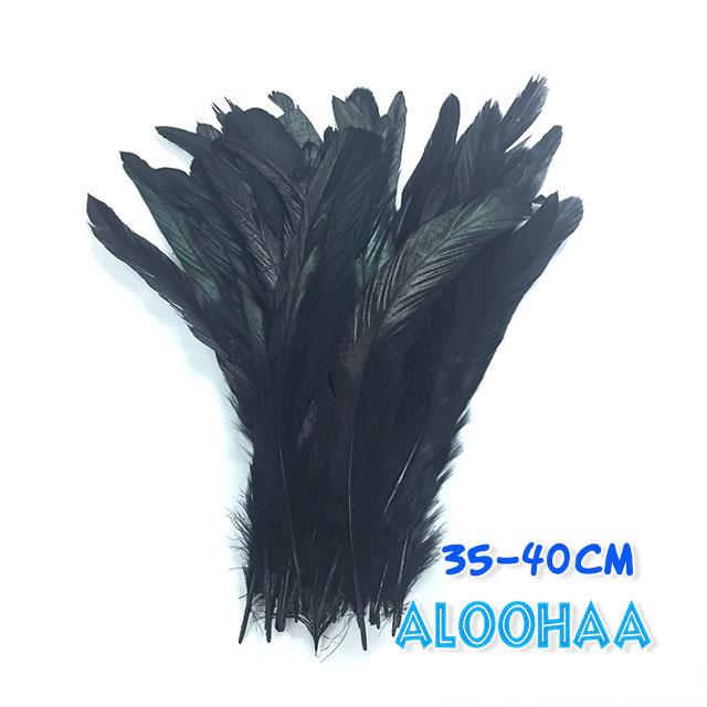 単色 ロングフェザー【黒】35-40cm 10本 DIY 羽 衣装材料 タヒチアン