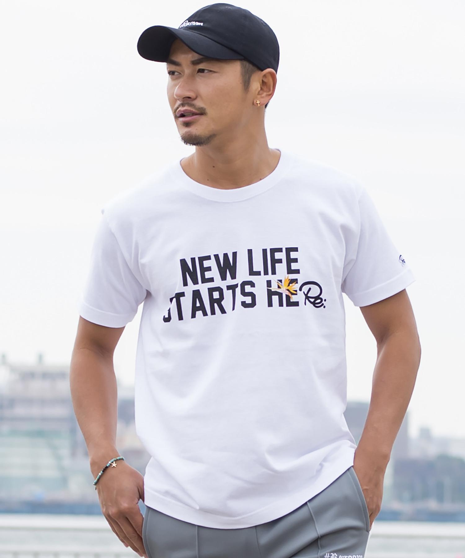 NEW LIFE MESSAGE FLOWER PRINT T-shirt[REC183]