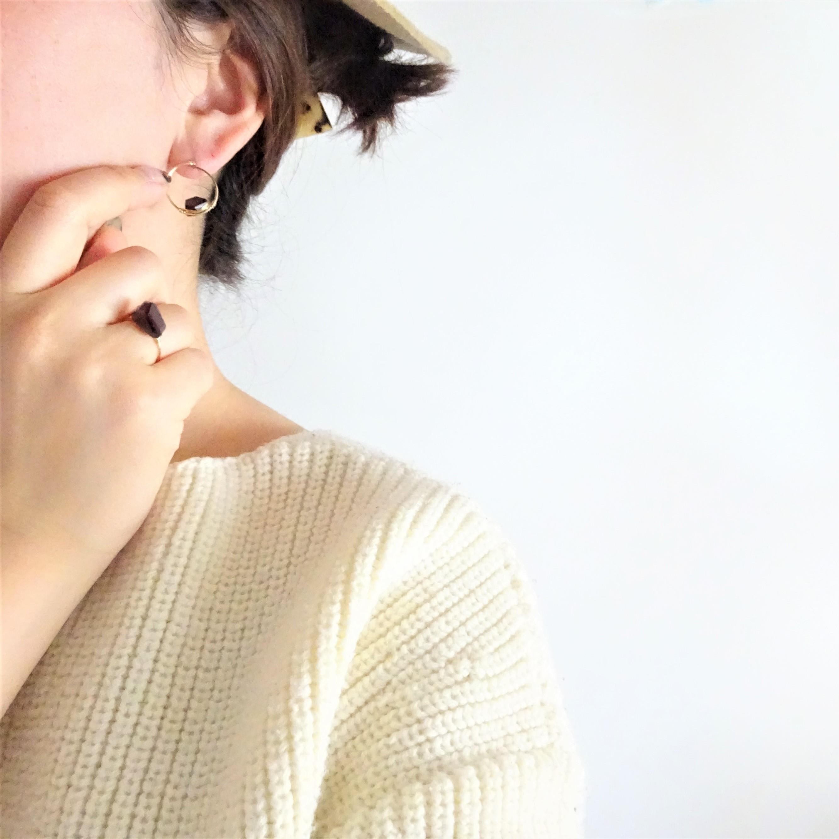 福袋14kgf*AAA Garnet wrapped ring + pierced earring