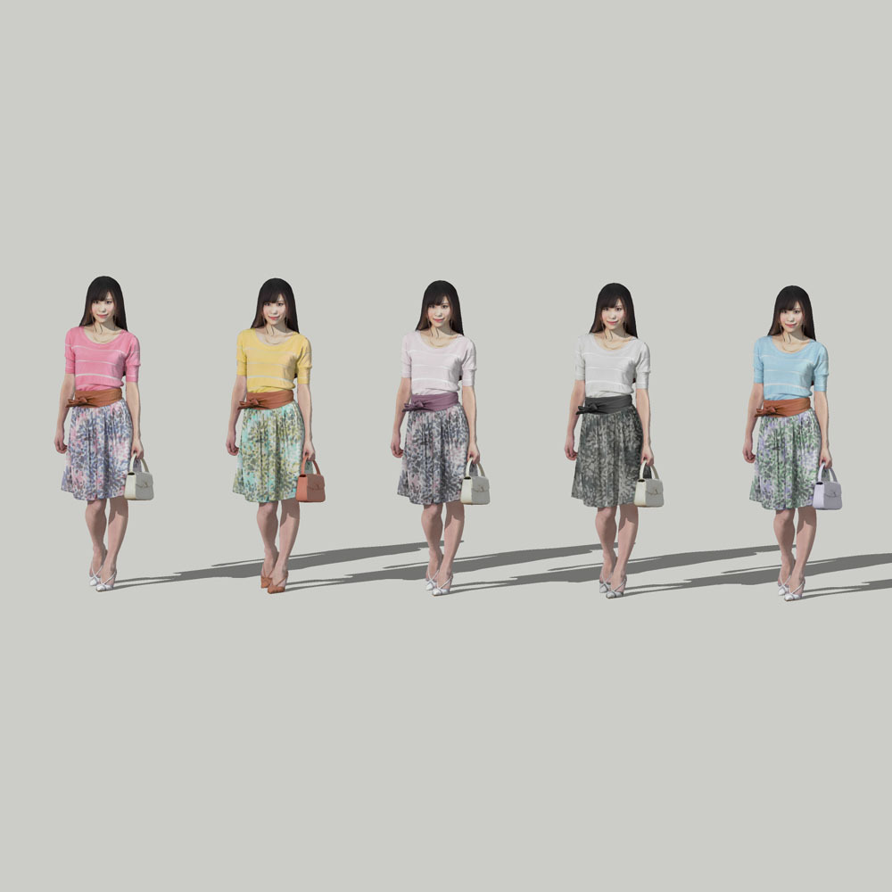 SketchUp素材 3D人物モデル ( Posed ) 077_Yui - 画像2