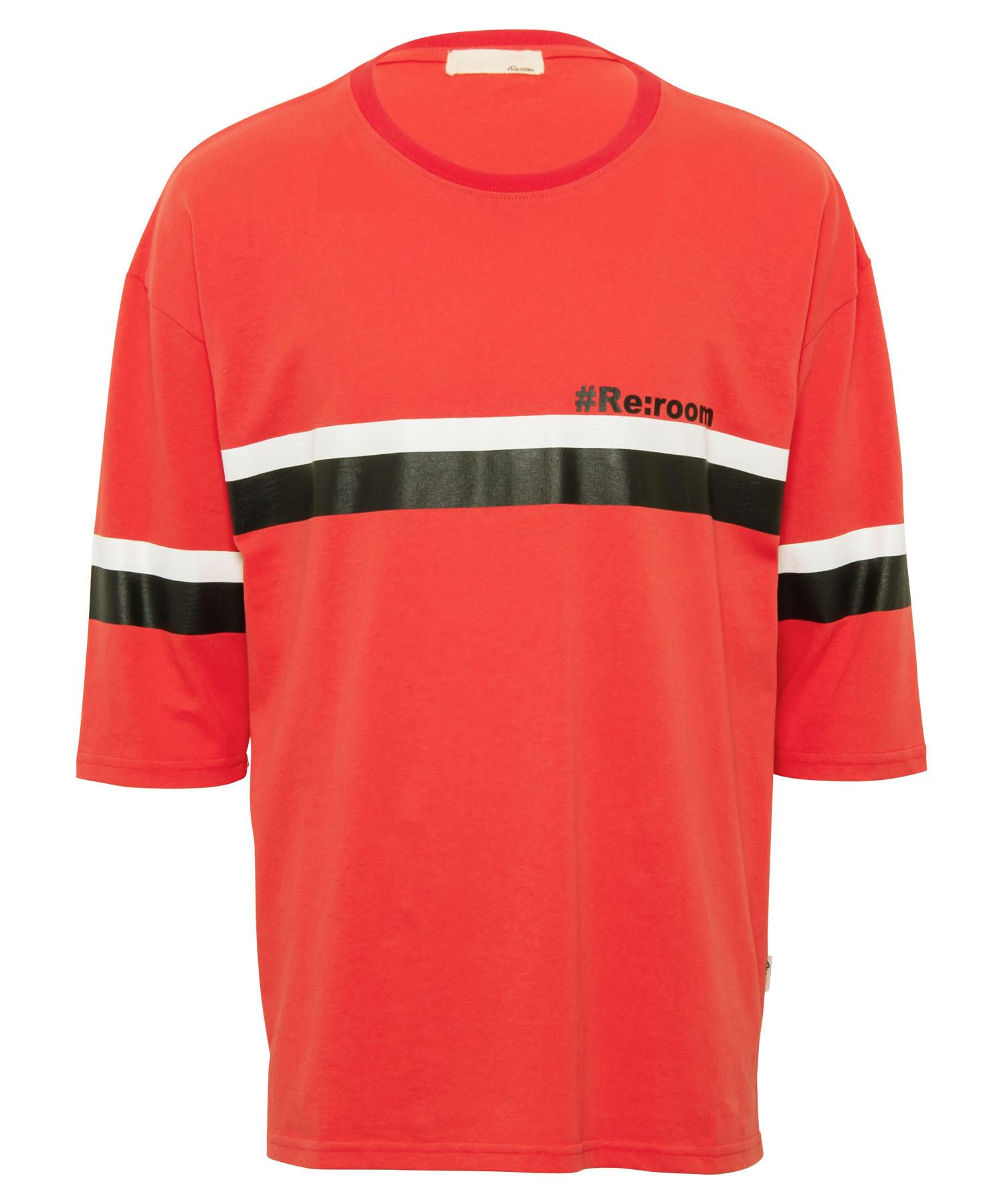 COLOR LINE PRINT HALF SLEEVE T-shirt[REC411]