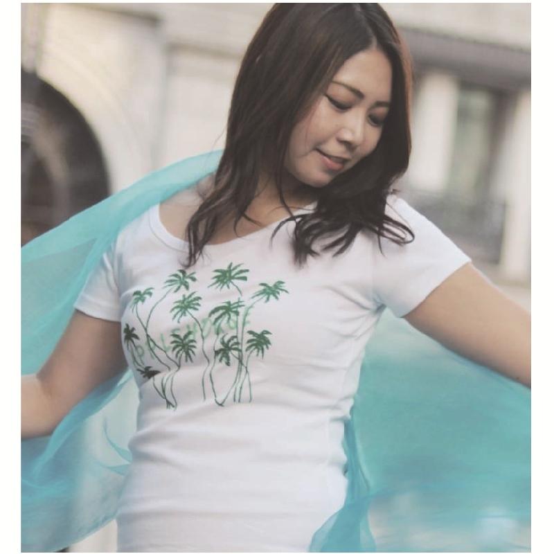 APPLE HOUSE / ZA TOKYO  100%made in Japan.広めの襟ぐりでキュートなハワイアンデザインのフレンチ袖前後深丸襟Tシャツ(ココナツツリー) No.134285