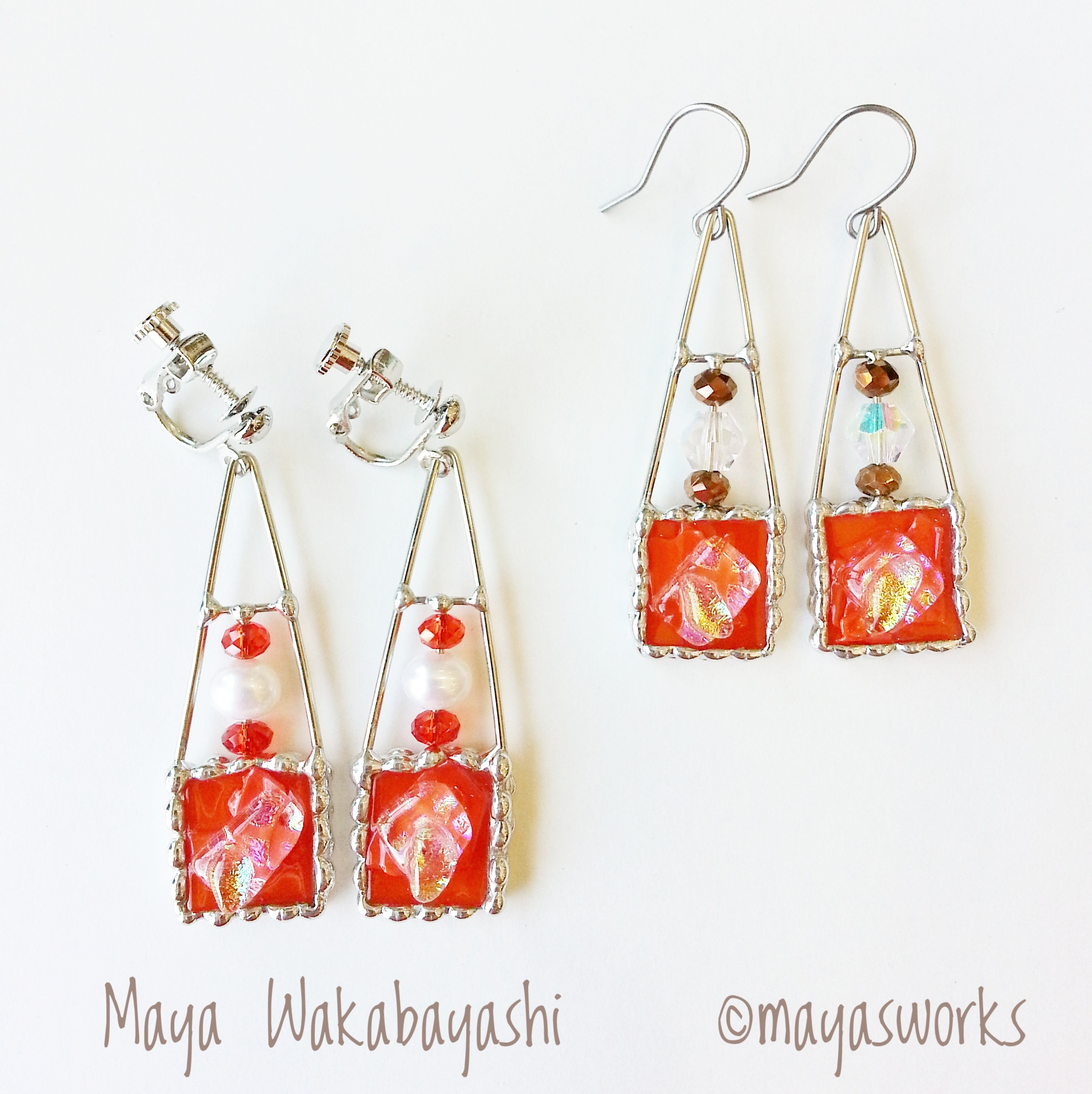 【Limited Items of 12】square orange earring