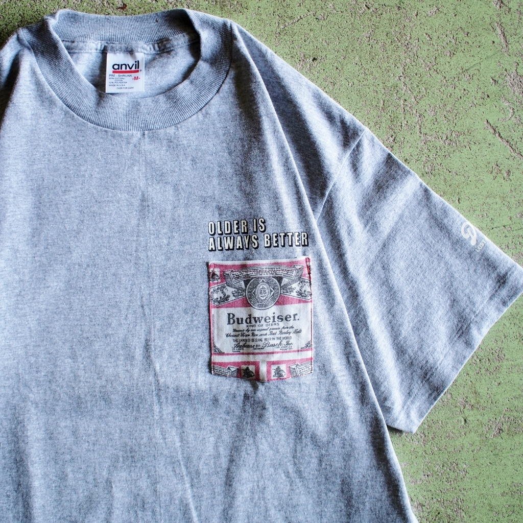 "【LOST AND FOUND】""Budweiser"" Remake Pocket T-shirt (GREY)"