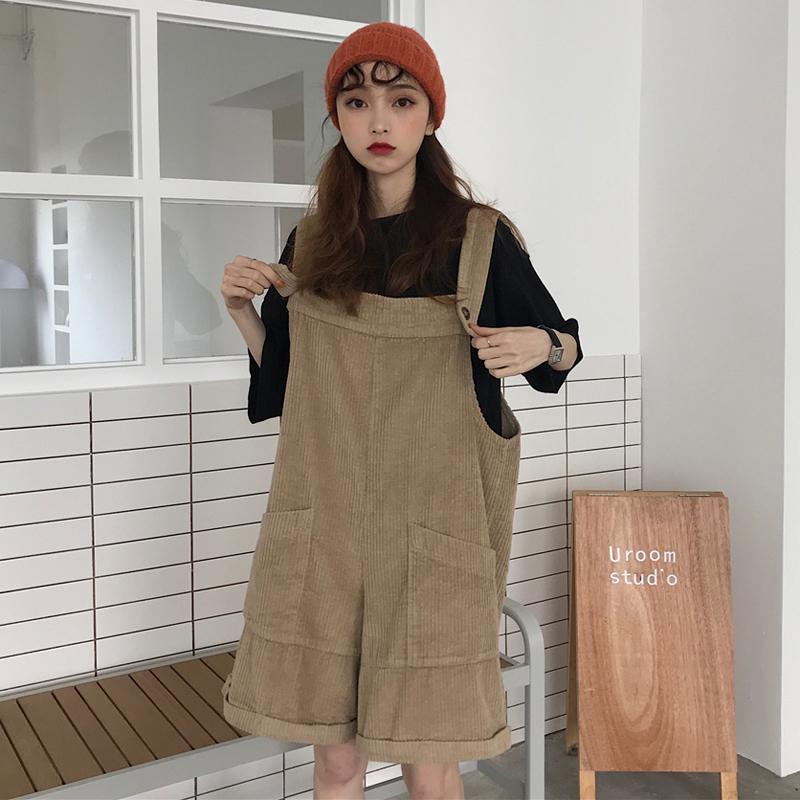 【送料無料】 ゆるだぼ感が可愛い♡ コーデュロイ サロペット カジュアル 半ズボン ワイドレッグ