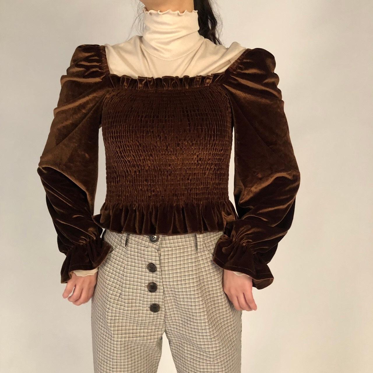 Velour square neck  blouse